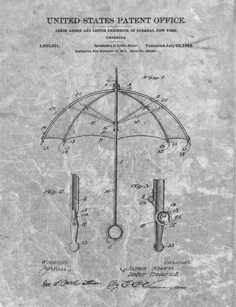 Wet Drawing - 1912 Umbrella Patent Charcoal by Dan Sproul