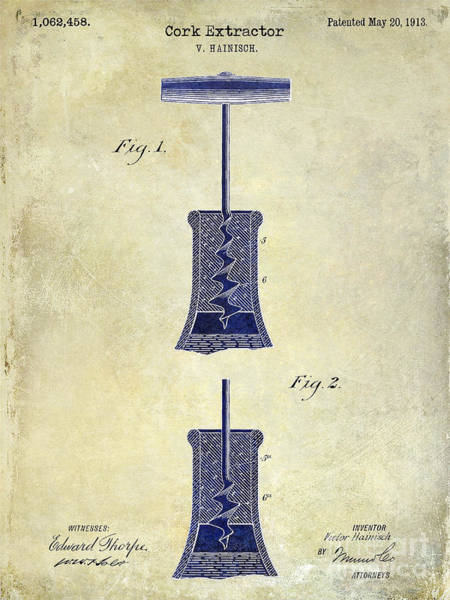 Wine Barrels Photograph - 1913 Cork Extractor Patent Drawing 2 Tone by Jon Neidert