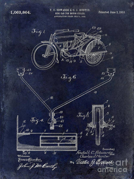 Victory Motorcycle Photograph - 1913 Motorcycle Patent Drawing Blue by Jon Neidert