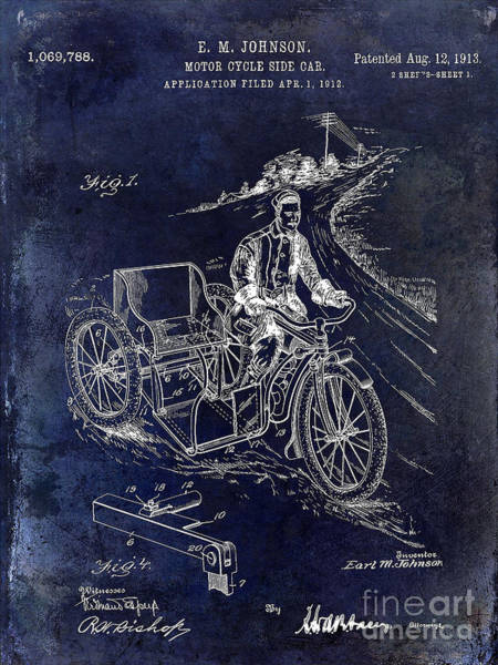 Victory Motorcycle Photograph - 1913 Motorcycle Side Car Patent Blue by Jon Neidert
