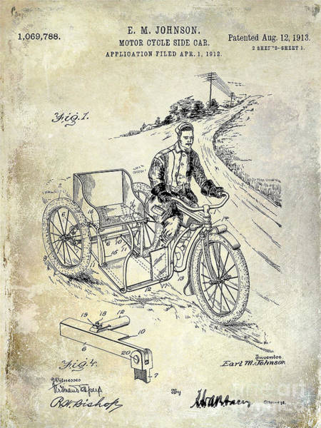 Victory Motorcycle Photograph - 1913 Motorcycle Side Car Patent by Jon Neidert