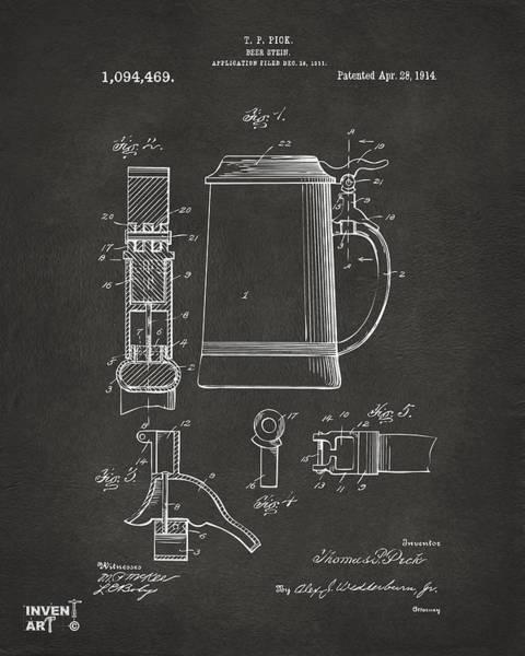 Wall Art - Digital Art - 1914 Beer Stein Patent Artwork - Gray by Nikki Marie Smith