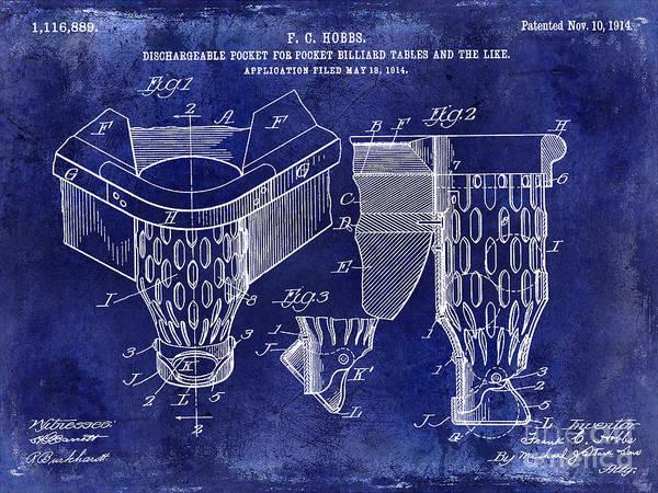 Pool Table Photograph - 1914 Billiard Pocket Patent Drawing Blue by Jon Neidert