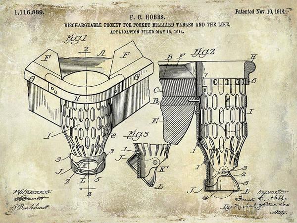 Pool Table Photograph - 1914 Billiard Pocket Patent Drawing by Jon Neidert