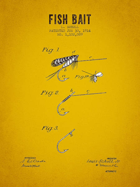Wall Art - Digital Art - 1914 Fish Bait Patent - Yellow Brown by Aged Pixel