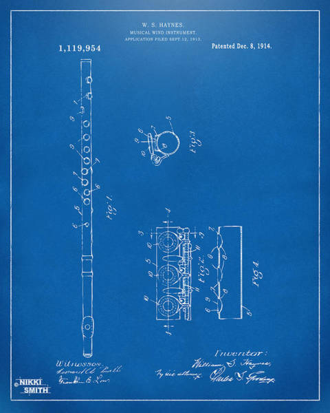 Marching Digital Art - 1914 Flute Patent - Blueprint by Nikki Marie Smith
