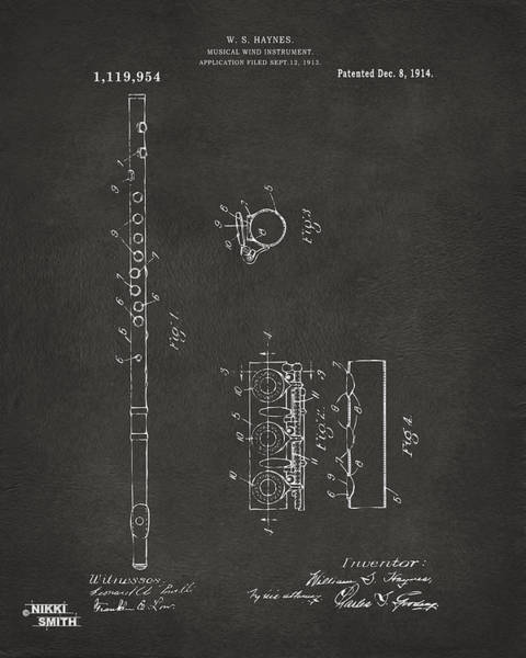 Marching Digital Art - 1914 Flute Patent - Gray by Nikki Marie Smith