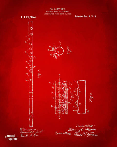 Marching Digital Art - 1914 Flute Patent - Red by Nikki Marie Smith