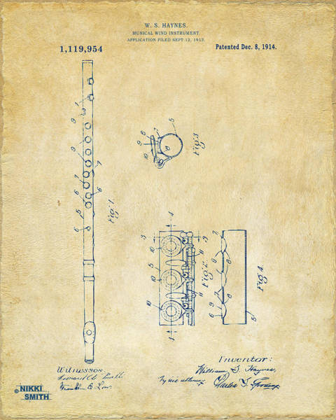 Marching Digital Art - 1914 Flute Patent - Vintage by Nikki Marie Smith