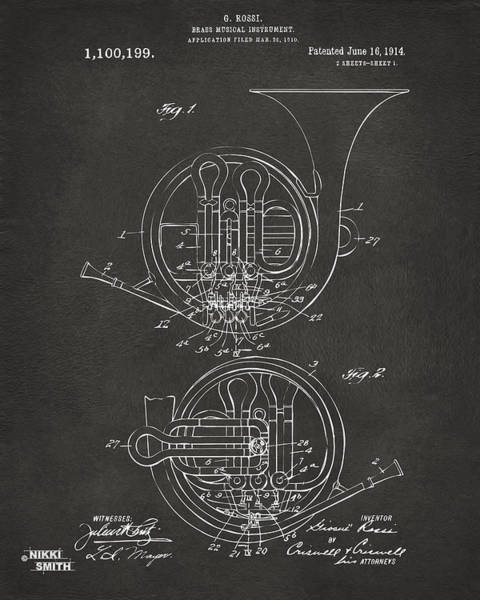 Digital Art - 1914 French Horn Patent Art - Gray by Nikki Marie Smith