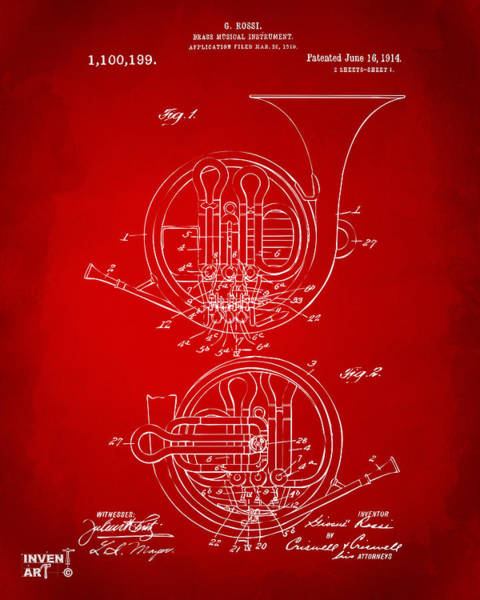 Digital Art - 1914 French Horn Patent Art Red by Nikki Marie Smith