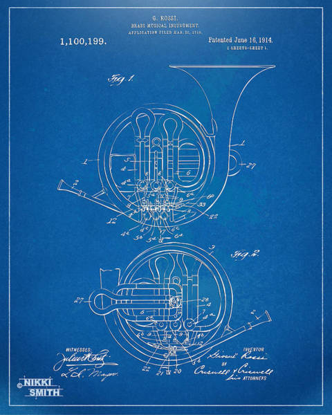 Digital Art - 1914 French Horn Patent Blueprint by Nikki Marie Smith