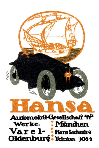 Historic Car Painting - 1914 Hansa Automobile Poster by Historic Image