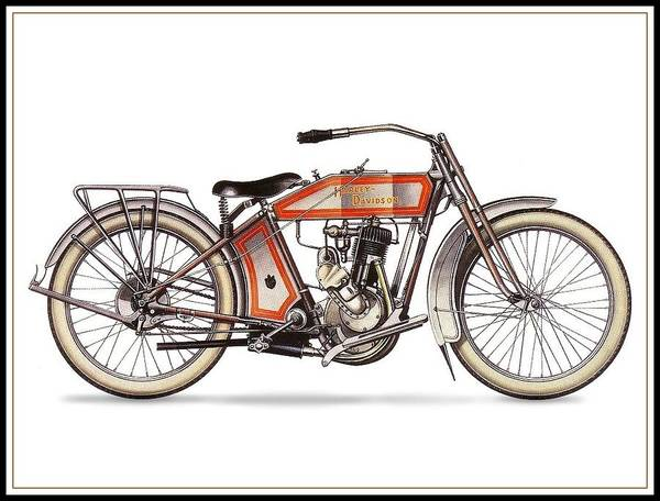 Wall Art - Drawing - 1914 Harley Davidson 35ci Model 10b by Maciek Froncisz