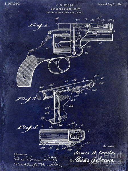 Revolver Photograph - 1914 Revolver Light Patent Drawing  Blue by Jon Neidert