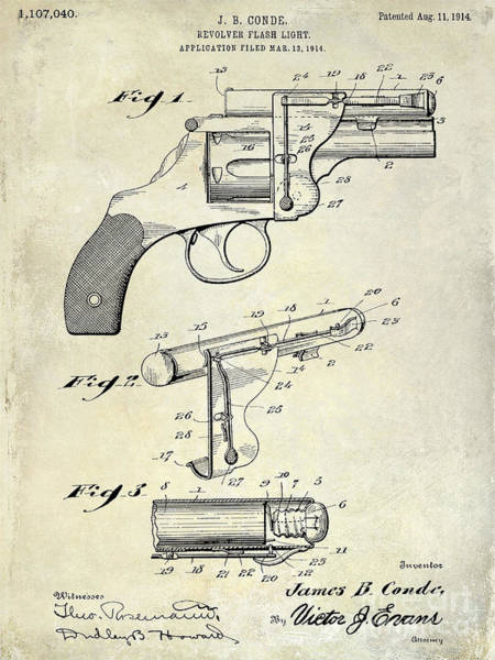 Revolver Photograph - 1914 Revolver Light Patent Drawing by Jon Neidert