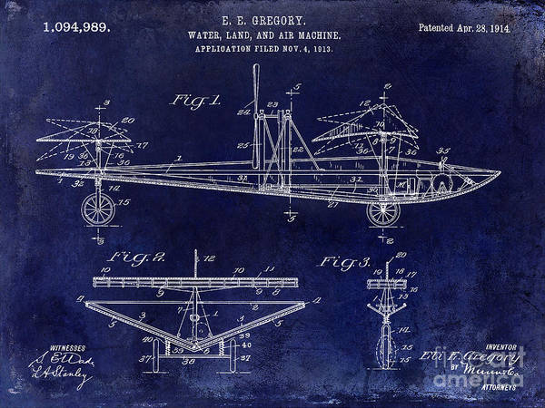 Vintage Airplane Photograph - 1914 Water Land And Air Machine Patent Blue by Jon Neidert