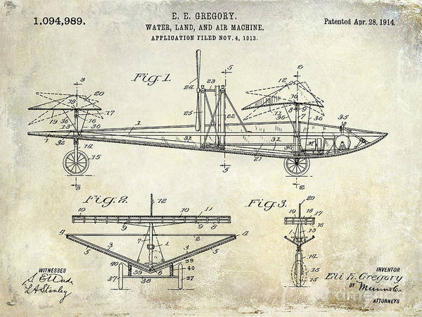 Vintage Airplane Photograph - 1914 Water Land And Air Machine Patent by Jon Neidert