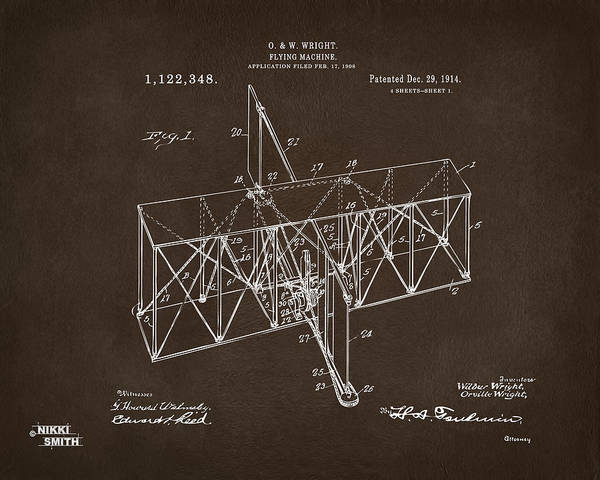 Digital Art - 1914 Wright Brothers Flying Machine Patent Espresso by Nikki Marie Smith