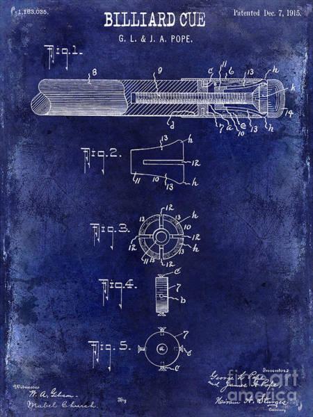 Pool Table Photograph - 1915 Billiard Cue Patent Drawing Blue by Jon Neidert
