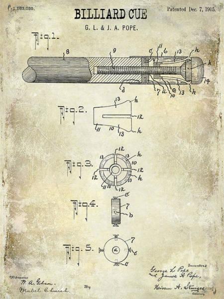 Pool Table Photograph - 1915 Billiard Cue Patent Drawing  by Jon Neidert