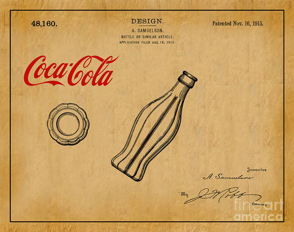 Vintage Patent Wall Art - Digital Art - 1915 Coca Cola Bottle Design Patent Art 1 by Nishanth Gopinathan