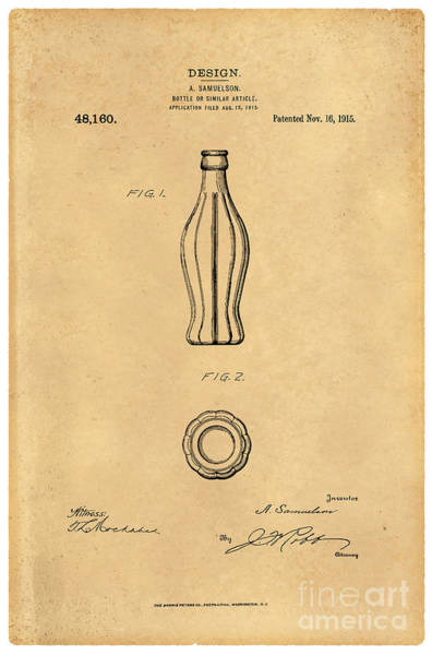 Wall Art - Digital Art - 1915 Coca Cola Bottle Design Patent Art 5 by Nishanth Gopinathan