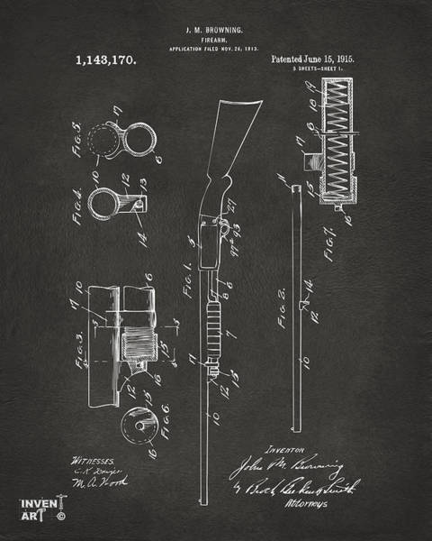 Digital Art - 1915 Ithaca Shotgun Patent Gray by Nikki Marie Smith
