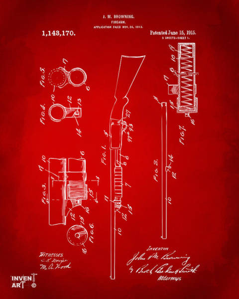 Digital Art - 1915 Ithaca Shotgun Patent Red by Nikki Marie Smith