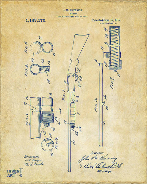 Digital Art - 1915 Ithaca Shotgun Patent Vintage by Nikki Marie Smith