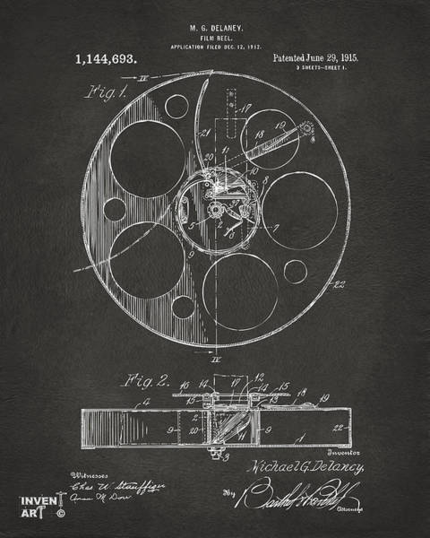 Wall Art - Digital Art - 1915 Movie Film Reel Patent Gray by Nikki Marie Smith