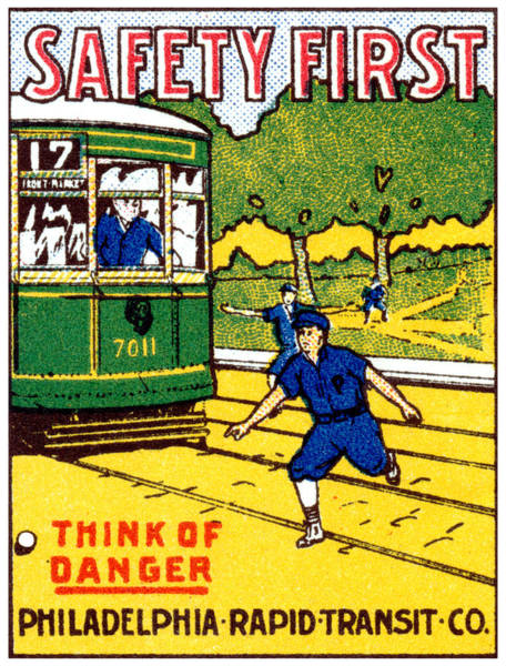 Vintage Railroad Painting - 1915 Safety First In Philadelphia by Historic Image