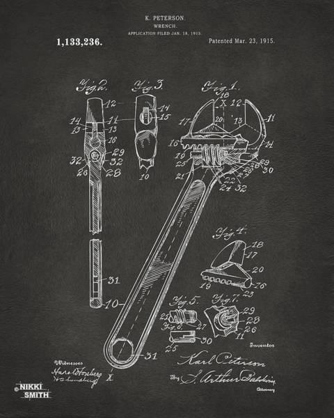 Wall Art - Digital Art - 1915 Wrench Patent Artwork - Gray by Nikki Marie Smith