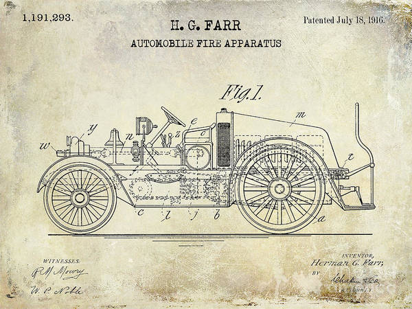 Fire Truck Photograph - 1916 Automobile Fire Apparatus Patent Drawing by Jon Neidert