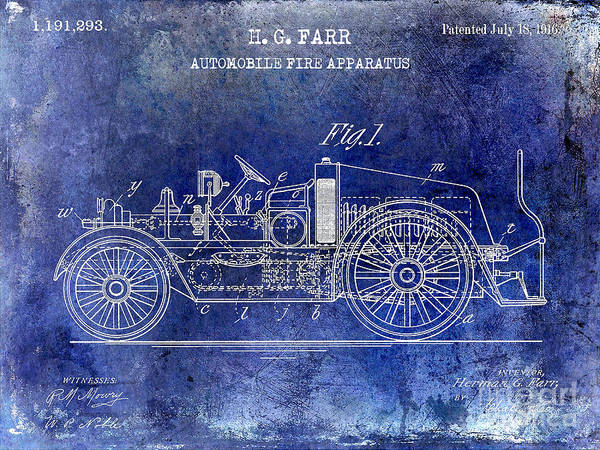 Fire Truck Photograph - 1916 Automobile Fire Apparatus Patent Drawing Lt Blue by Jon Neidert