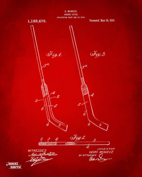 Hockey Sticks Digital Art - 1916 Hockey Goalie Stick Patent Artwork - Red by Nikki Marie Smith