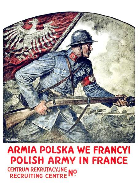 War Bonds Digital Art - 1917 - Polish Recruitment Poster For Service In France - Color by John Madison