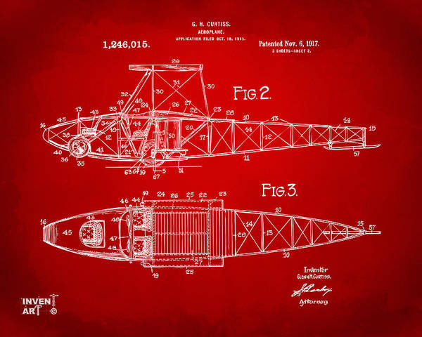 Digital Art - 1917 Glenn Curtiss Aeroplane Patent Artwork 2 Red by Nikki Marie Smith