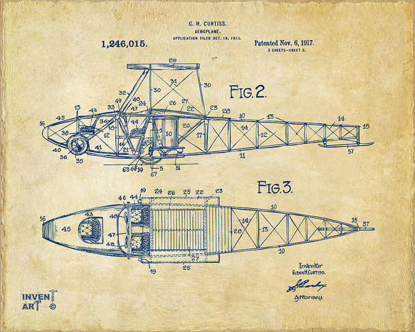Digital Art - 1917 Glenn Curtiss Aeroplane Patent Artwork 2 Vintage by Nikki Marie Smith