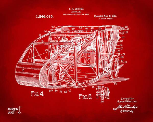 Digital Art - 1917 Glenn Curtiss Aeroplane Patent Artwork 3 Red by Nikki Marie Smith