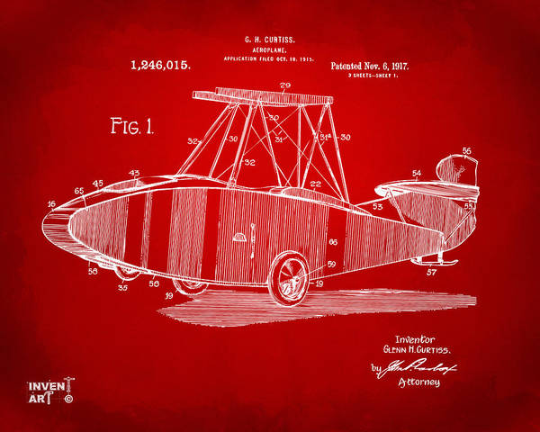 Digital Art - 1917 Glenn Curtiss Aeroplane Patent Artwork Red by Nikki Marie Smith