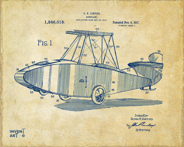 Digital Art - 1917 Glenn Curtiss Aeroplane Patent Artwork Vintage by Nikki Marie Smith
