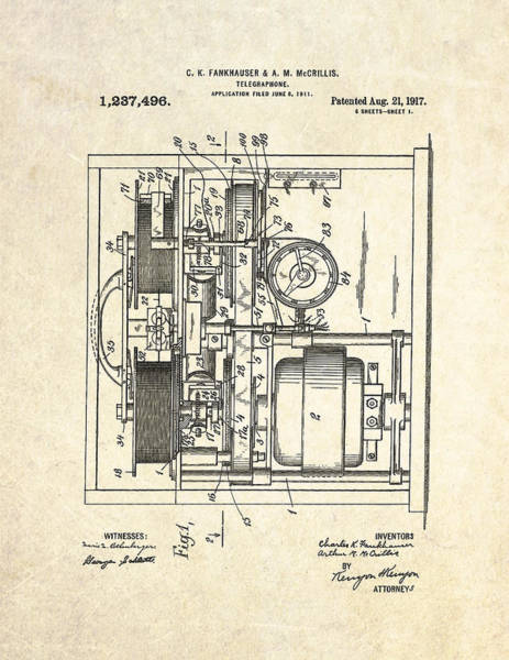 Vintage Patent Drawing - 1917 Telegraphone Patent Art by Gary Bodnar