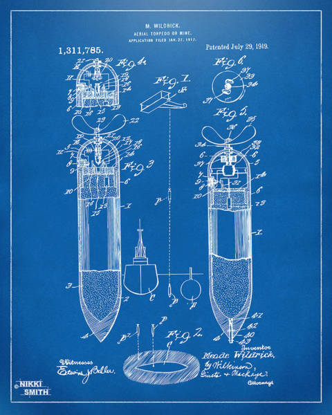 World War 1 Digital Art - 1919 Aerial Torpedo Patent Artwork - Blueprint by Nikki Marie Smith