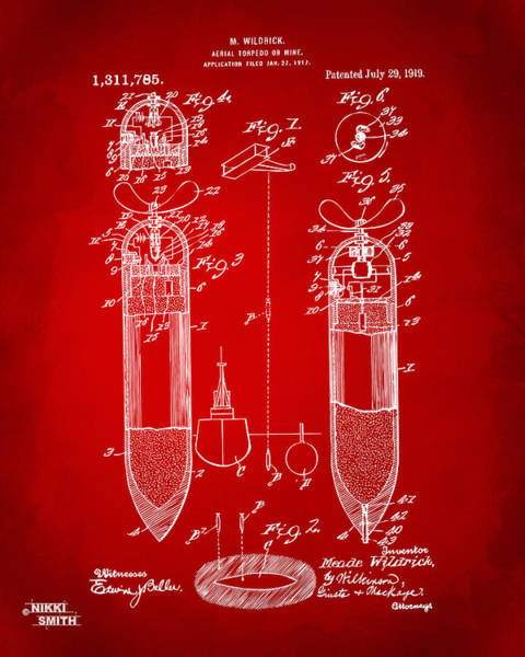World War 1 Digital Art - 1919 Aerial Torpedo Patent Artwork - Red by Nikki Marie Smith