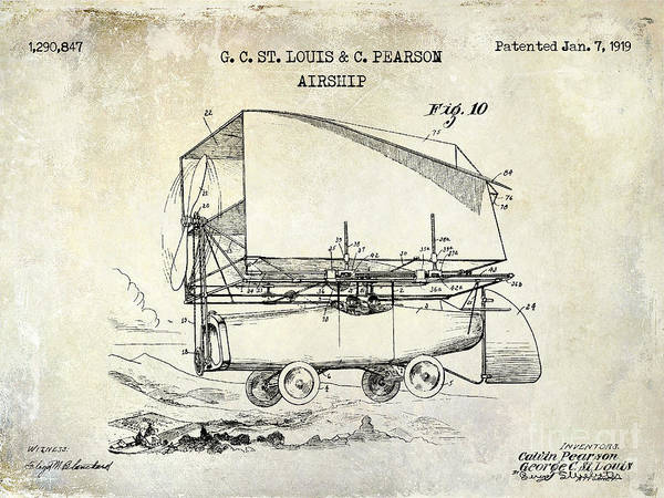 Vintage Airplane Drawing - 1919 Airship Patent Drawing by Jon Neidert