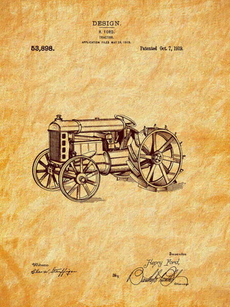 Photograph - 1919 Ford Tractor Design Patent Art by Barry Jones