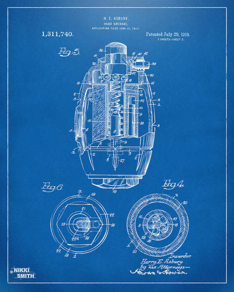 World War 1 Digital Art - 1919 Hand Grenade Patent Artwork - Blueprint by Nikki Marie Smith