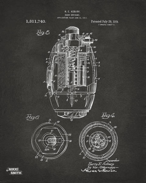 World War 1 Digital Art - 1919 Hand Grenade Patent Artwork - Gray by Nikki Marie Smith