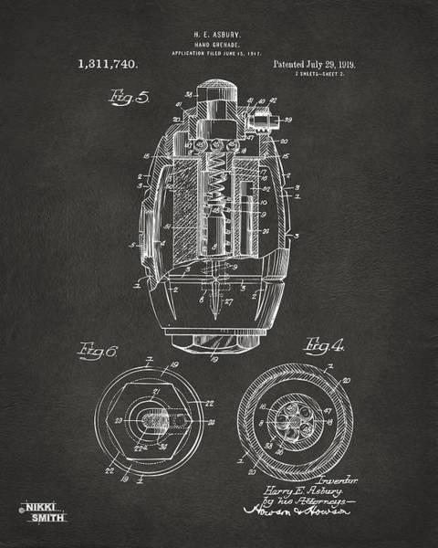 Wall Art - Digital Art - 1919 Hand Grenade Patent Artwork - Gray by Nikki Marie Smith